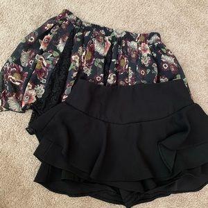 Zara Black skort and BSK floral skirt